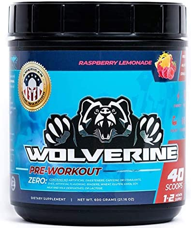 All Natural Stim Free Wolverine Pre Workout by American Gym Warrior 40 Servings of Preworkout for Men and Women Raspberry Lemonade Flavor Great for Increased Focus, Pump, and Energy, No Crash