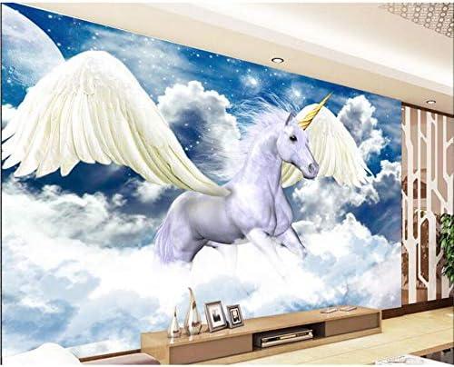 Weaeo 3D壁紙ハイエンドカスタム壁画不織布壁ステッカー3D天使ユニコーンペンティアム3D壁ルーム壁画の壁紙-280X200Cm