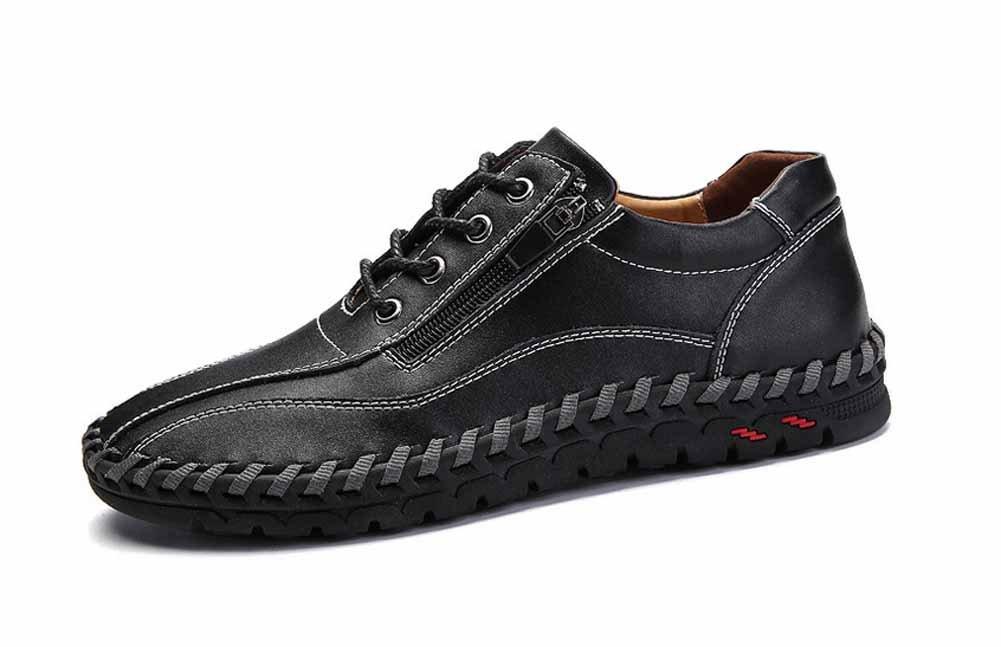 GLSHI Hombres Casual Cuero Zapatos Nuevo Moda Lado Cremallera Plano Zapatos Hecho Mano Ante Para Caminar Zapatos (Color : Negro, tamaño : 39) 39|Negro
