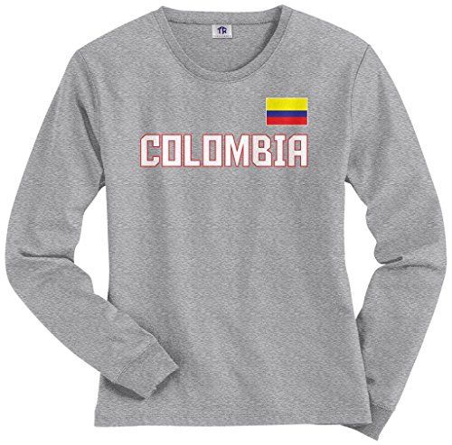 Threadrock Women's Colombia National Pride Long Sleeve T-shirt L Sport Gray (Womens Long Pride Sleeve)