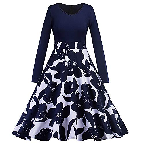 Women's Vintage Cocktail Party Dress Long Sleeve Print Dress Patchwork Stitched A-line Dress(Cadetblue,S)