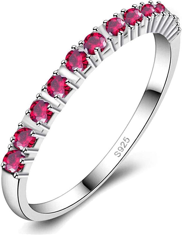Uloveido Mujer Platino/Chapado en Oro Rosa 2 mm Claro Cubic Zirconia Anillo de Banda de eternidad apilable J029