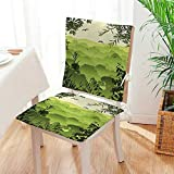 Mikihome Chair Cushion (Set of 2) Scenery with Tea Trees and Gulls in The Birds Includes Seat and Backrest Mat:W17 x H17/Backrest:W17 x H36