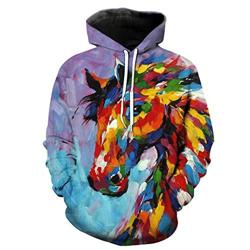 Unisex 3D Print Yellow Horse Animal Pattern Slim Slim Stylish Sweatshirt S