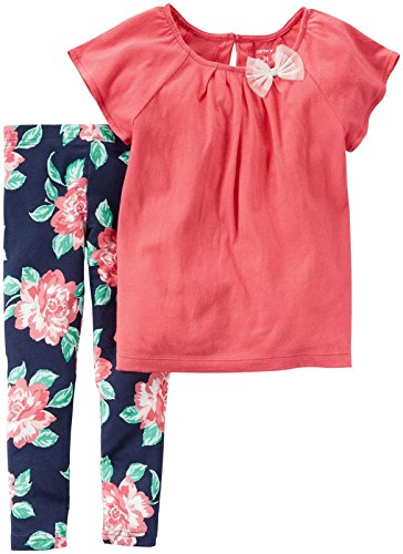 Carter's Baby Girls' 2 Piece Dress, Floral, and Legging Sets, Red/Rose, 12 Months ()
