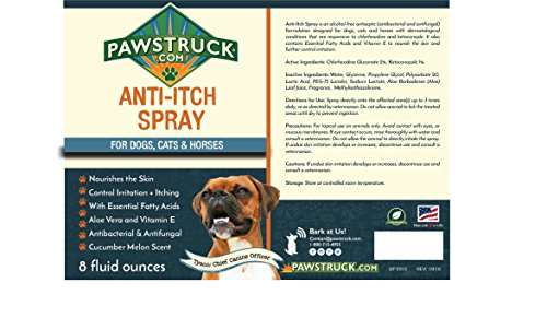 Pawstruck Dogs Cat + Spot Mange, Yeast Itching Relief, Allergy Itch, Antibacterial Antifungal,