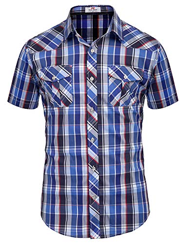 PAUL JONES Men's Western Plaid Shirt Short Sleeve Button Down Casual Shirt Blue, XX-Large