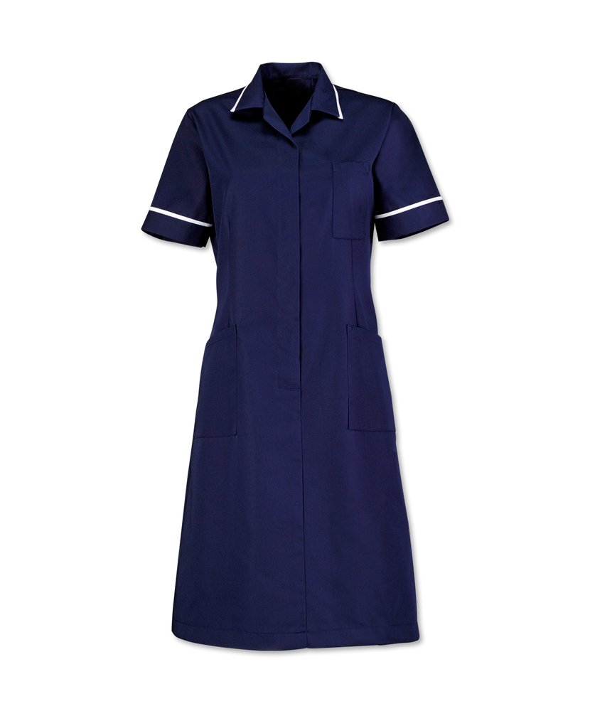 Alexandra AL-D312NA-112S Series AL-D312 Zip Front Dress, Plain, Short, White Piping/Trim, Size 112 cm, Chest Size 20, Sailor Navy