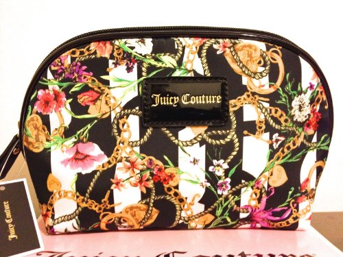 Juicy Couture Dome Cosmetic Makeup Bag Striped Floral Chain Travel Case (Juicy Couture Makeup Bags)