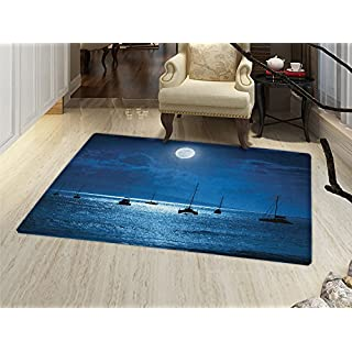 Smallbeefly Ocean Floor Mat For Kids Dramatic Photo Of A Nighttime Sky Full  Moon Over A
