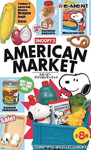 Snoopy American Market 8 Pack BOX Peanuts Movie Cute Mini Scale Table Desk Decor Collectable Model Statue Figure BBQ Shopping Bag Dog house Birthday Cake Wagon Sale Cereal Jar RE-MENT (Barbecue Wagon)