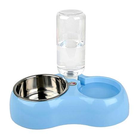 Desmontable Acero Inoxidable Doble napf cuencos con dispensador de agua kit Comedero para animales – Escudilla