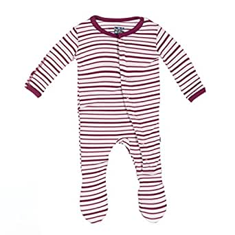 KicKee Pants Baby Girls Print Footie Prd-kpf173s16d2-Gas, Girl Animal Stripe, New Born