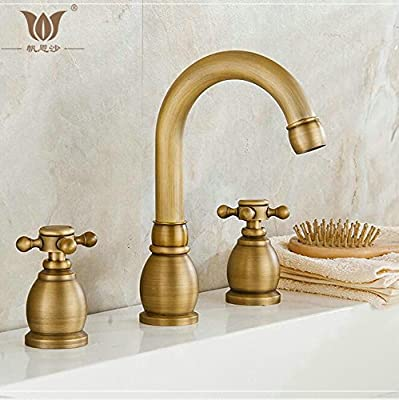 Tyrants Faucet Kitchen faucet NET faucet Bathroom faucet 3 pcs Antique Brass Deck Mounted Bath Basin Sink Vanity Faucet Water tap bath faucets torneira banheiro BF-8666