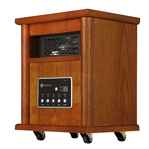 Homegear 1500W Infrared Electric Portable Wooden Space Heater Brown + Remote Control