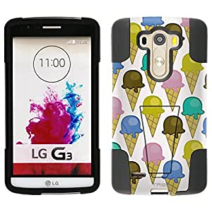 LG G3 Hybrid Case Multi Color Ice Cream Cones on White 2 Piece Style Silicone Case Cover with Stand for LG G3