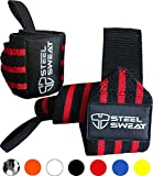 Steel Sweat Wrist Wraps by Best for Weight Lifting, Powerlifting, Gym and CrossFit Training – Heavy Duty Support in Sizes 18″ Black/Red Review