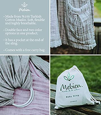 Baby Wrap Carrier Ring Sling-Baby Carrier-Extra Soft Turkish Cotton Muslin Baby Slings Baby Shower Gift Grey Rose