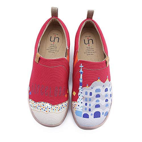 UIN Women's Castle Cute Painted Canvas Shoes Red (8.5)