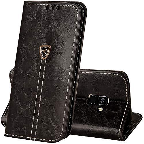 Happon Samsung Galaxy A8 2018 Case,Samsung Galaxy A8 2018 Case,Premium Premium PU Leather Wallet Snap Case Premium Premium Flip Cover for Samsung Galaxy A8 2018 Black