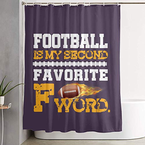 Arsmt Football is My Second Favorite F Word Shower Curtain with Hooks Waterproof Fabric Bathroom Decor