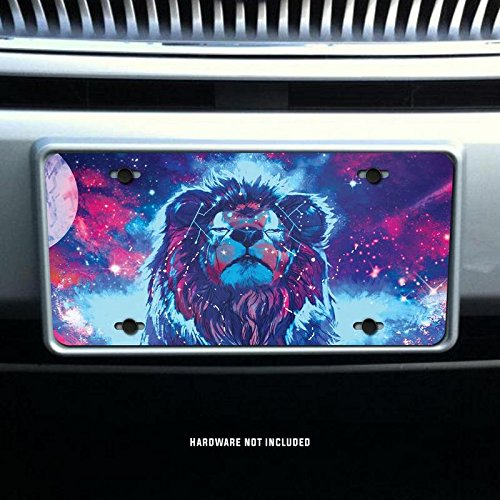 Lion With Space and Stars Vanity Front License Plate Tag Printed Full Color KCFP072 KCD