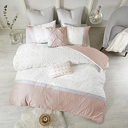 Amazon Com 7 Piece Girls Light Pink Grey White Tufts Dot Stripe Themed Comforter King Cal Set Girly Pretty Polka Dots Stripes Bedding All Over Small Circle Polkadot Dot Texture Striped Pattern Gray