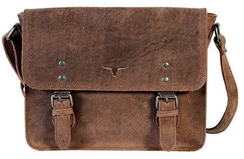 UF Buffalo Leather Messenger Bag Satchel 15'' Laptop Macbook Crossbody Bag Leather Purse Women Travel Handbag Diaper Bag Tote by QualityArt