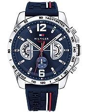 Tommy Hilfiger Unisex multi-wijzerplaat kwarts horloge met siliconen armband 1791476