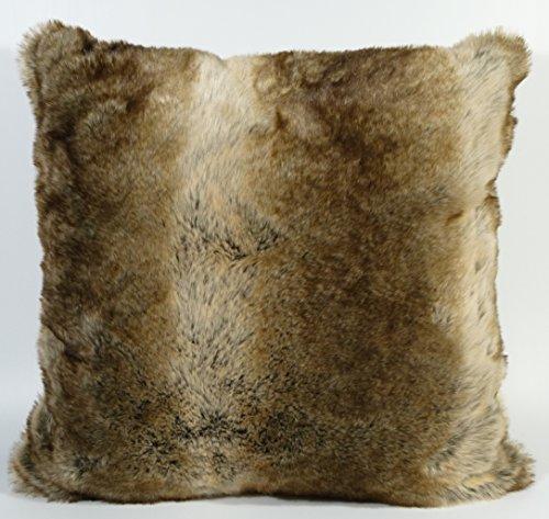 LUXUS Fell-Kissen Kuschelkissen Dekokissen Rückenkissen Sofakissen Hochffor 50 x 50 cm Grizzly Bär