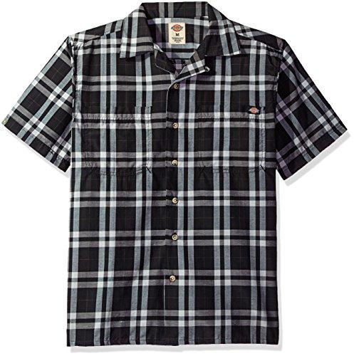 Two Pocket Camp Shirt (Dickies Men's Short Sleeve Camp Shirt, Black/Executive Light Grey, M)