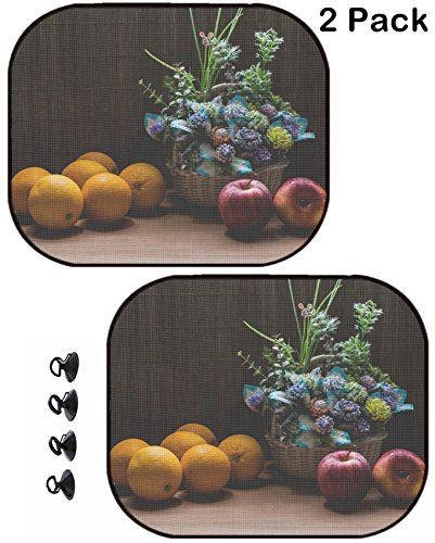 MSD Car Sun Shade Protector Block Damaging UV Rays Sunlight Heat for All Vehicles, 2 Pack Image ID 24138036 Beautiful Flower Bouquet and Fresh Oranges with Apples on Wooden Tabl - Bouquets Images