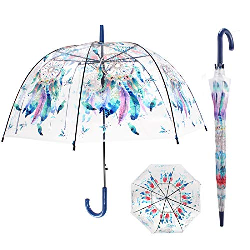 CARRYWOON Dream Catcher 40 inch Bubble Umbrella Clear Umbrella Dome Windproof Automatic Open...