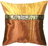 Artiwa Throw Decorative Silk Pillow Case for Couch Sofa Bed Thai Elephants 16''x16'' Cushions Brown & Gold