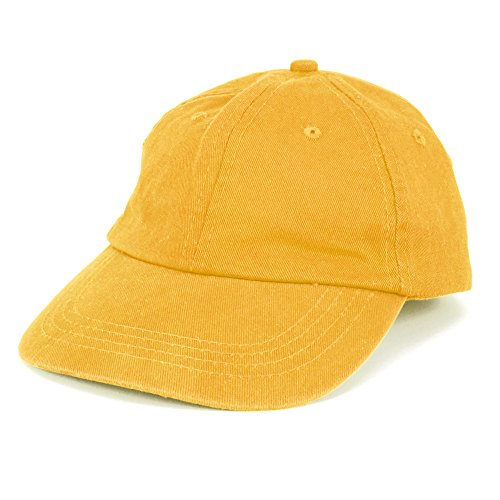 Toddler to Youth Washed Chino 100% Cotton Twill Cap with Adjustable Strap - Yellow (Toddler Yellow Hat)