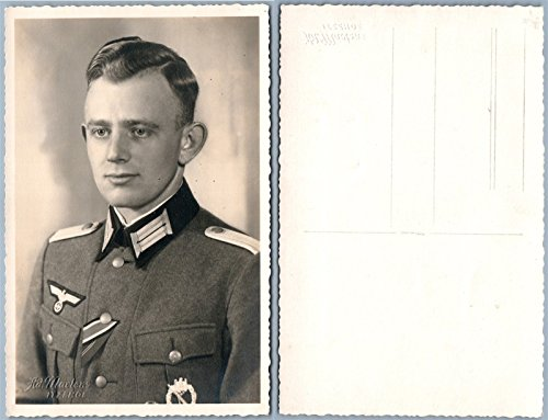 (GERMAN WWII SOLDIER MILITARY UNIFORM REAL PHOTO POSTCARD RPPC)