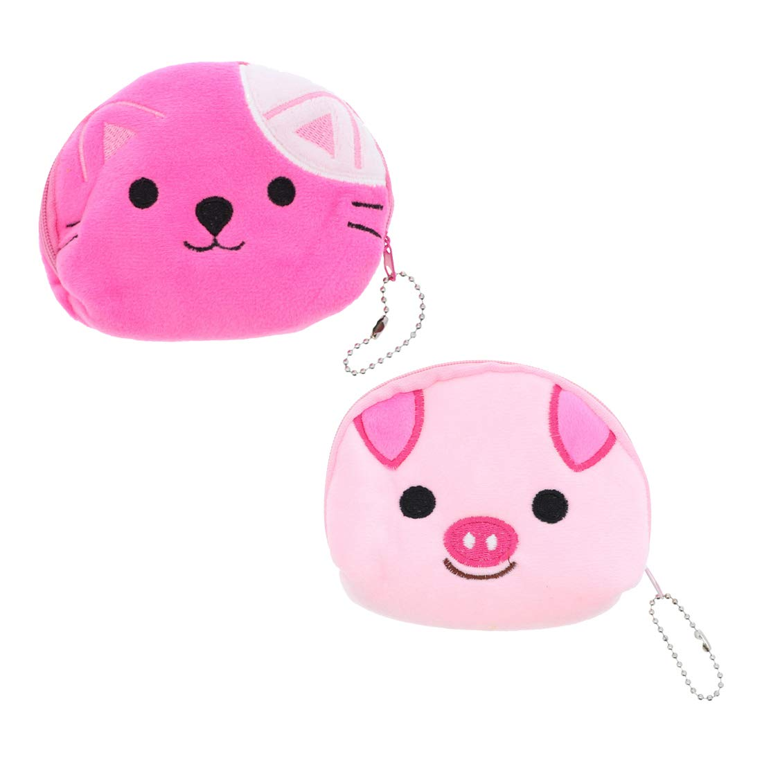 Large Animal Face Coin Purse Plush Wallet - Set of 2 - Pinks