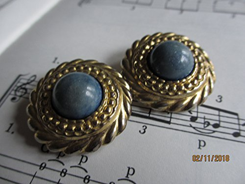 Spring Sale Pretty Vintage Blue Stone Art Deco Earrings, Blue Vintage Mod Nouveau Earrings,Something Blue Bridal gift (Nouveau Centerpiece)
