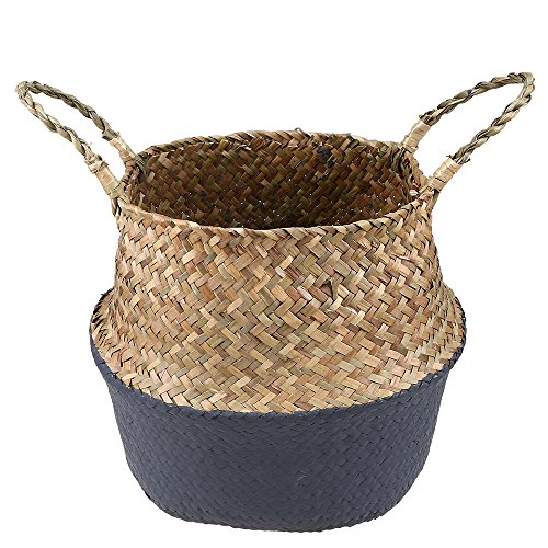 WCIC Natural Seagrass Woven Belly Basket, Laundry Basket Holder Plant Pot Home Garden Gray 10.24 x 12.6