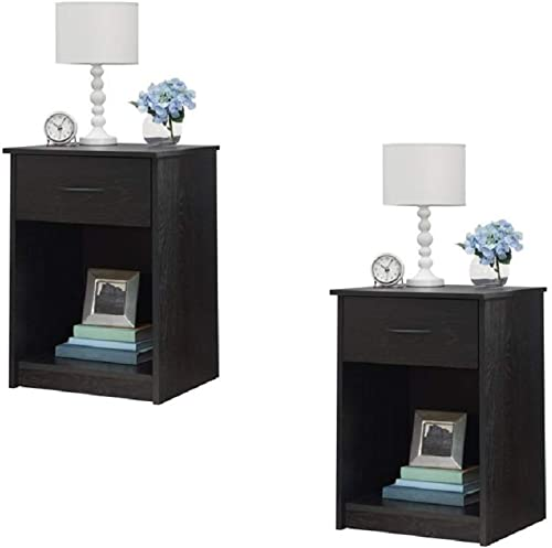Set of 2 Nightstand MDF End Tables Pair Bedroom Table Furniture Multiple Colors Gray 2 Sets