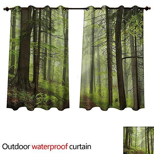cobeDecor Outdoor Outdoor Ultraviolet Protective Curtains Trail Trough Foggy Alders W63 x L72(160cm x 183cm)