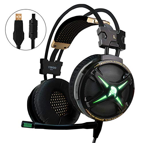 - WeIM 2019 Gaming Headset Virgo M60 Black 7.1 Surround Sound for PC, Intelligent Vibration, Strong Bass, Voice Changer, Flexible Sensitive Mic, LED Illumination, USB Connector, Compatible with PS4
