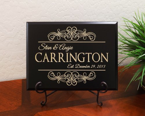Personalized Sign with Scroll Couple Names Last Name Date Established Decorative Carved Wood Sign Quote, Black (Please Sign Date And Mail)