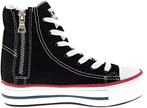 Holes Sneakers Platform Maxstar C7 5cm Tall Up 7 Canvas Shoes Black qUfE87