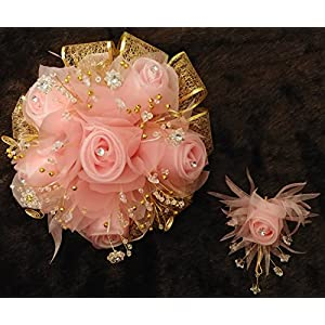 Beautiful 15th Quinceañera Blush and Gold Flower Bouquet Set And Corsage, Ramo Para Quinceañera. 15 Anos 21