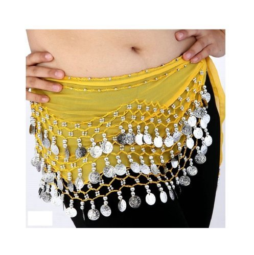 Buy Home Chiffon Dangling Silver Coins Belly Dance Hip Skirt (Red Silver Hip Scarf)