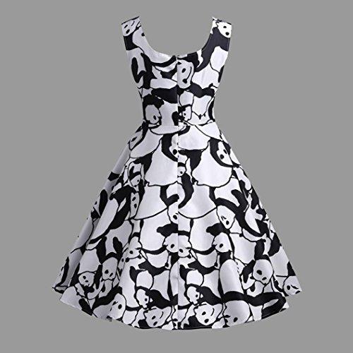 Robes Plisse Elegante Femme Cocktail Sans Dress Vintage Ete Col Panda Vtements V A Imprime Cher Manches Chic Jupe Soire Femme Party Noir Pas ligne Robe POachers vq7x5wzw
