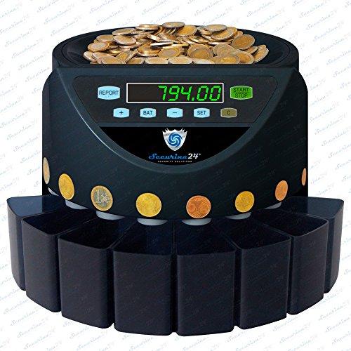 Münzzähler Münzzählmaschine Münzsortierer Geldzählmaschine SR1200 von Securina24® (Schwarz - Blacklabel - BBB)