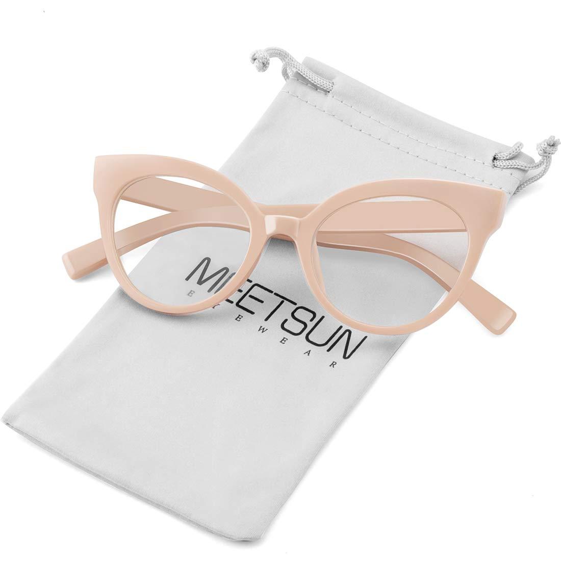 0ac29235e443 Amazon.com: MEETSUN Womens Cat Eye Glasses Frame Fashion Designer Non Prescription  Eyeglasses Clear Lens for ladies Beige Optical eyewear: Clothing