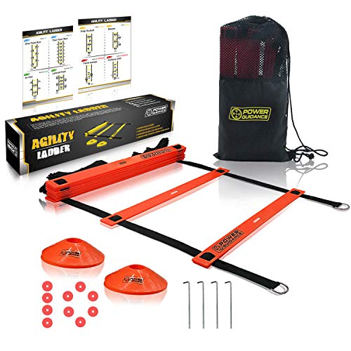 POWER GUIDANCE Agility Ladder (20 Feet) for Speed & Agility Trainning - with 12 Heavy Duty Plastic Rungs, Ground Stakes, Carry Bag & 8 Sports Cones (Red) ()